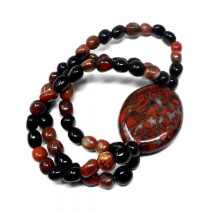 Brecciated Jasper Wafer Bracelet All Crystal Jewelry black obsidian