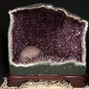 Amethyst fireplace on wooden stand All Specialty Items
