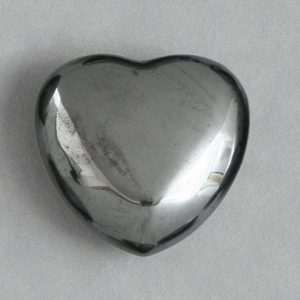 Hematite, Puffy Heart, 45mm All Polished Crystals [tag]