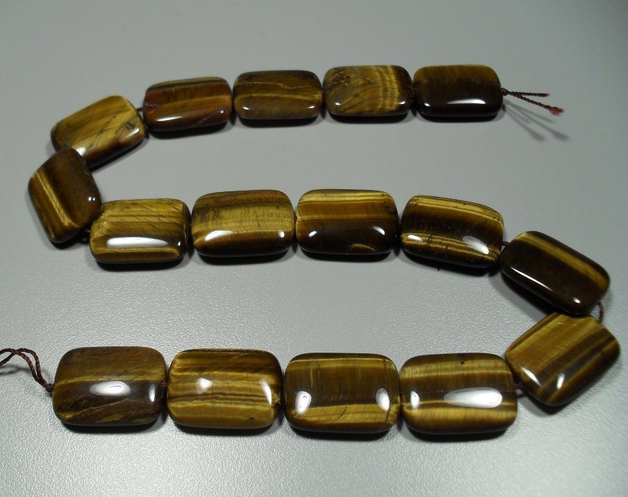 Gold Tiger Eye rectangular bead strand All Jewellery
