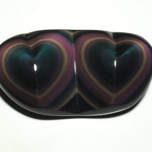 Obsidian, Rainbow, Twin Heart All Polished Crystals heart
