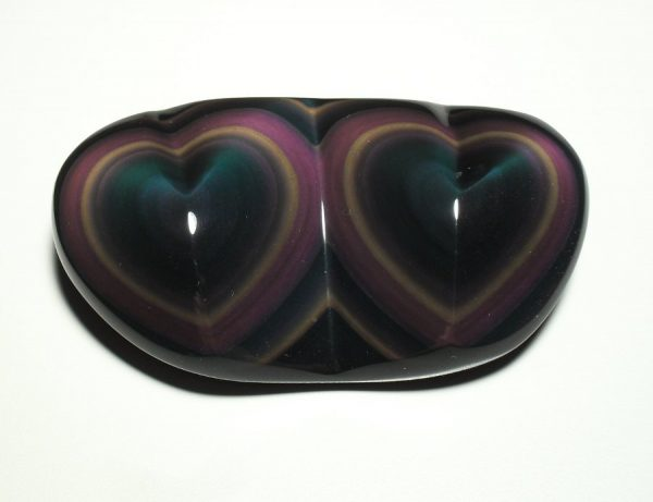 Obsidian, Rainbow, Twin Heart All Polished Crystals heart