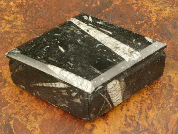 Orthoceros fossil jewellery box – diamond shape All Specialty Items Madagascar