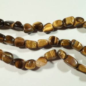 Tumbled stone strand of Gold Tiger Eye