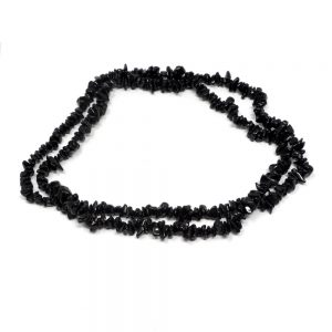 Black Tourmaline Chip Bead Necklace All Crystal Jewelry black tourmaline