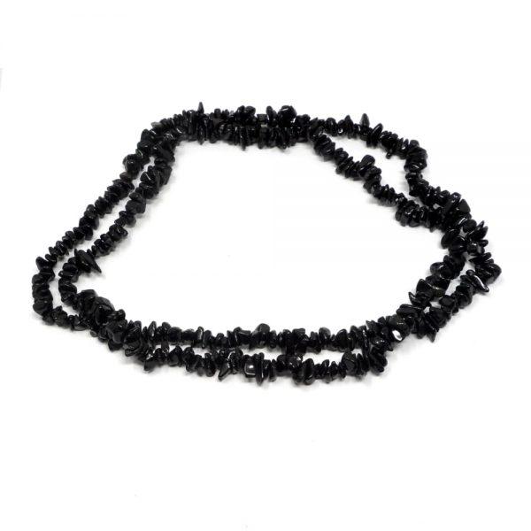 Black Tourmaline Chip Bead Necklace All Crystal Jewelry black tourmaline