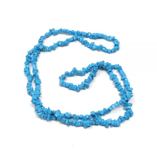 Blue Howlite Chip Bead Necklace All Crystal Jewelry blue howlite