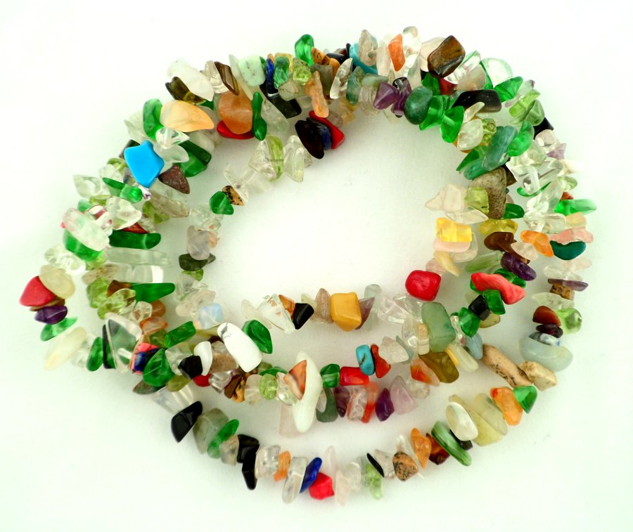 Mixed Stone Chip Bead Necklace All Crystal Jewelry chip beads