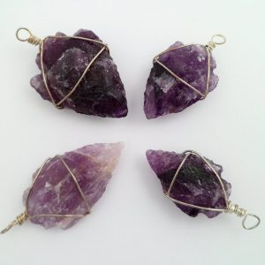 Amethyst arrowhead pendant - wire wrapped