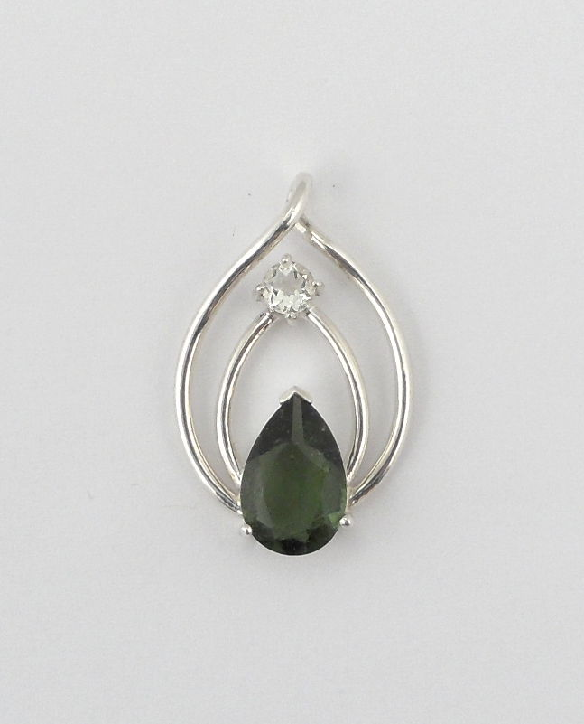 Moldavite & Phenacite Pendant All Crystal Jewelry moldavite