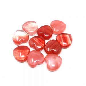 Cherry Quartz Hearts bag of 10 All Polished Crystals cherry quartz