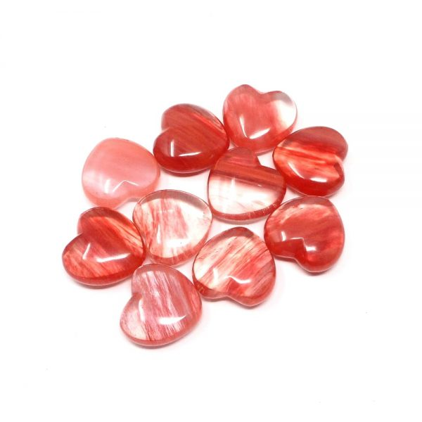 Cherry Quartz Hearts bag of 10 All Polished Crystals cherry quartz