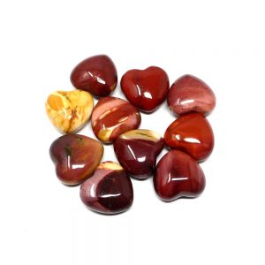 Mookaite Hearts bag of 10 All Polished Crystals bulk crystal hearts