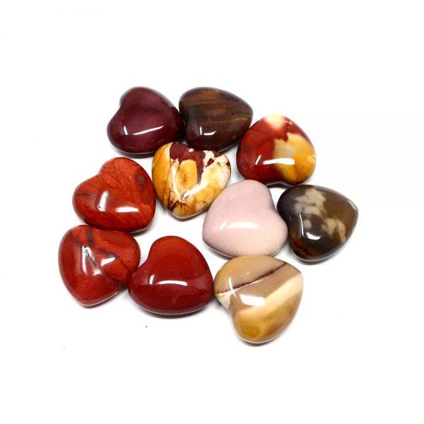 Mookaite Hearts bag of 10 All Polished Crystals bulk crystal hearts