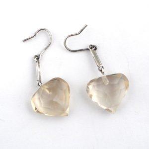 Citrine Faceted Heart Earrings