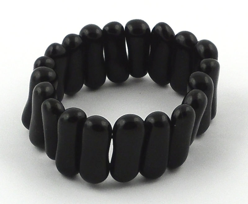 Black Obsidian Small Peanut Bracelet All Crystal Jewelry black obsidian
