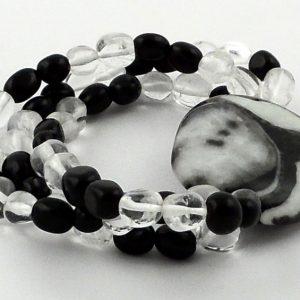 Zebra Marble Wafer Bracelet Crystal Jewelry bracelet