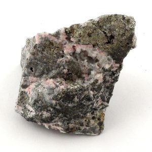 Rhodochrosite with Pyrite Specimen, Raw Raw Crystals pyrite