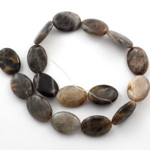 Black Moonstone Flat Oval Bead Strand Crystal Jewelry bead