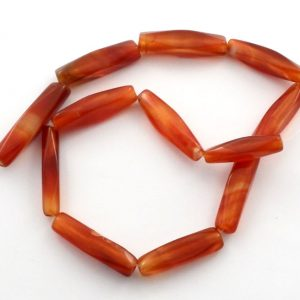 Carnelian Long Tube Bead Strand All Crystal Jewelry