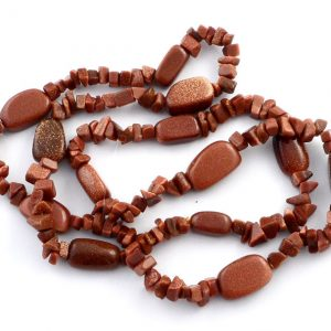 Goldstone Chip and Polished Oval Bead Strand All Crystal Jewelry chip bead