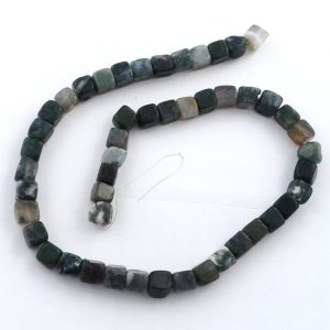 Moss Agate Cube Bead Strand All Crystal Jewelry agate