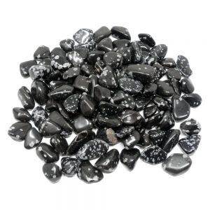 Obsidian, Snowflake, tumbled, 16oz Tumbled Stones obsidian