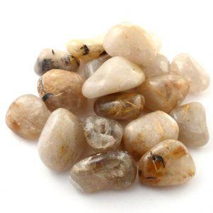 Quartz, Rutilated, tumbled, 8oz All Tumbled Stones quartz