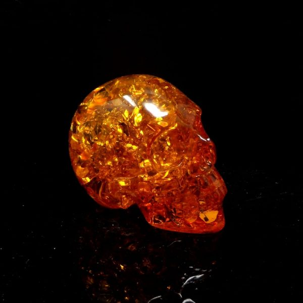 Amber Skull 3 Inch All Polished Crystals amber