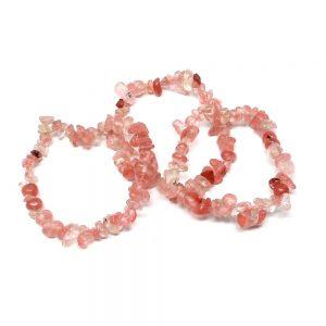 Cherry Quartz Single Strand Chip Bracelet All Crystal Jewelry bracelet