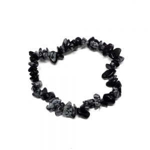 Snowflake Obsidian Single Strand Chip Bracelet All Crystal Jewelry bracelet