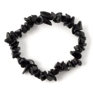 Black Tourmaline Single Strand Chip Bracelet