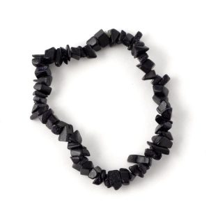 Blue Goldstone Single Strand Chip Bracelet All Jewellery