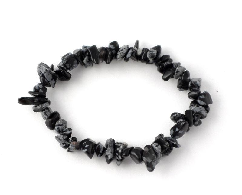 Snowflake Obsidian Single Strand Chip Bracelet