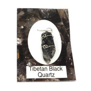Tibetan Black Quartz Wire Wrapped Pendant All Crystal Jewelry pendant