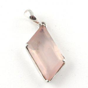 Rose Quartz geometric pendant – sterling silver setting All Crystal Jewelry Rose Quartz geometric pendant -