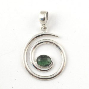Green Tourmaline spiral pendant All Crystal Jewelry green stone