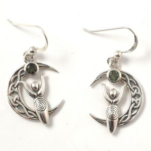 Moldavite Goddess and Crescent Moon Earrings All Crystal Jewelry celtic