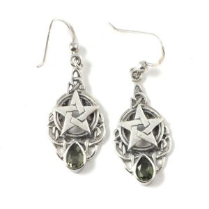Moldavite teardrop earrings – pentacle in Celtic knots All Crystal Jewelry Moldavite teardrop earrings