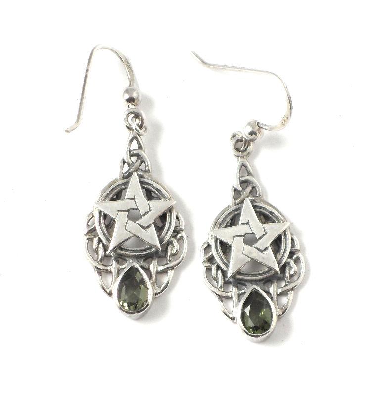 Moldavite teardrop earrings – pentacle in Celtic knots All Crystal Jewelry Moldavite teardrop earrings
