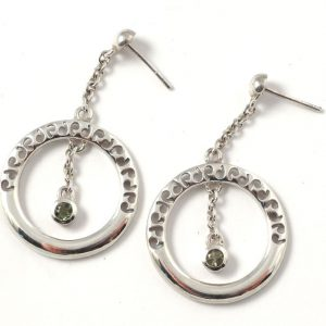 Moldavite circle earrings Crystal Jewelry Moldavite circle earrings