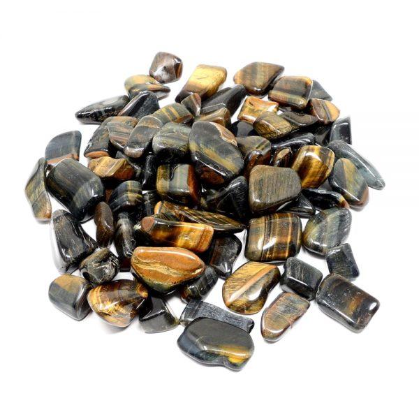 Tiger Eye, Mixed, tumbled, 16oz All Tumbled Stones bulk stones