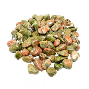 Unakite, tumbled, 16oz All Tumbled Stones bulk stones