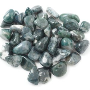 Agate, Moss, tumbled, 8oz All Tumbled Stones agate
