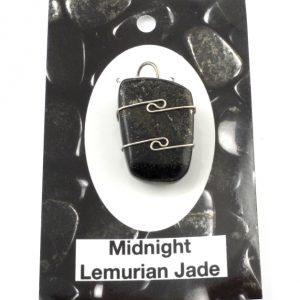 Midnight Lemurian Jade Wire Wrapped Pendant Crystal Jewelry black jade