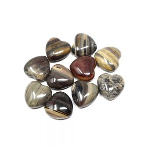 Silverlace Jasper Hearts bag of 10 All Polished Crystals bulk crystal hearts
