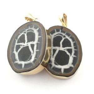 Septarian Slice Pendant Set All Crystal Jewelry pendant