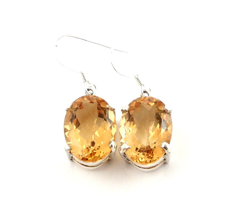 Citrine Faceted Earrings All Crystal Jewelry
