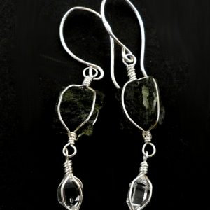 Moldavite and Herkimer Diamond Earrings Crystal Jewelry earrings