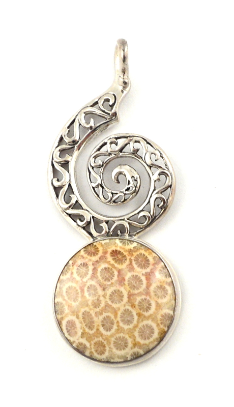Petrified Coral Pendant All Crystal Jewelry coral